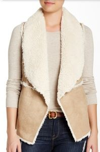 Sebby Collection Faux Shearling Drape Front Vest